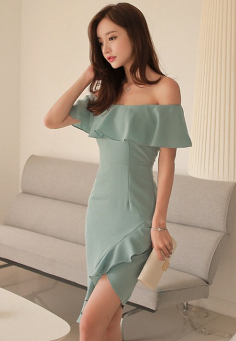 Light A060423 Sweetheart Style Sunnydaysweety Dress Shoulder Green Green Piece New One Off 2018 g6qx5wUBa