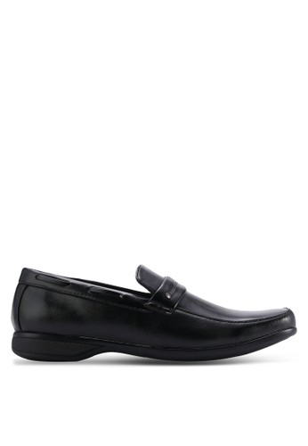 UniqTee black Business Loafers With Strap Detail UN097SH04WMPMY_1