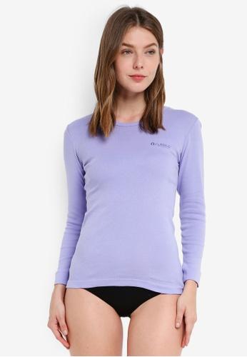 Nukleus purple Hibiscus Women Long Sleeves Vee 8EDDCAA2BCA498GS_1