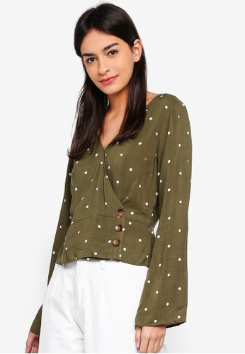 Abercrombie & Fitch green Wrap Blouse 391D2AAE2A379EGS_1
