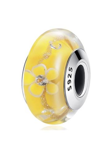 925 Signature 925 SIGNATURE Solid 925 Sterling Silver Yellow Blossom Inclusion Murano Glass Charm 77B26AC6FD81E4GS_1