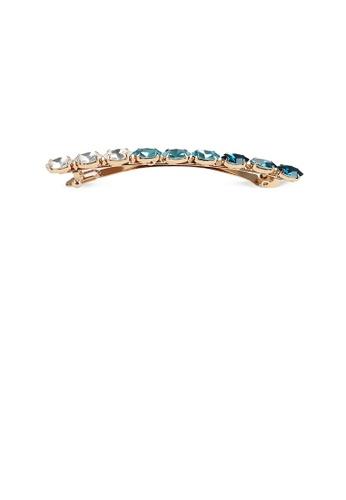 Glamorousky blue Simple Fashion Plated Gold Round Blue Cubic Zirconia Geometric Hair Clip 9E7F6ACC5E5755GS_1