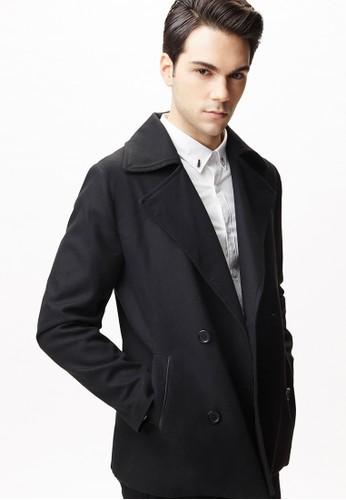 雅致商務。翻領雙排釦毛呢大衣-11095-黑色, 服飾, 休esprit台灣outlet閒西裝外套