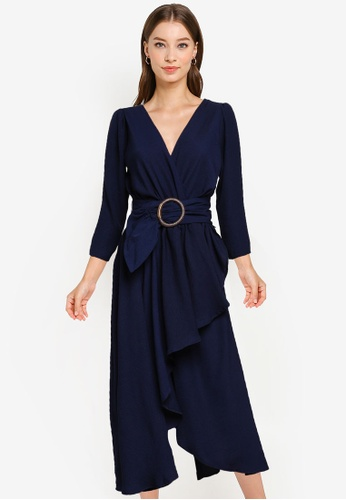 Goddiva navy High Low Wrap Style Midi Dress 0E362AA9F21F96GS_1