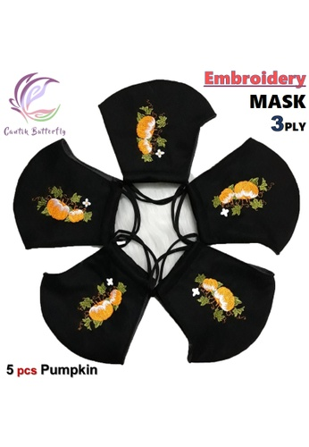 Cantik Butterfly black Embroidery Mask 3Ply Reuseable Washable Face Mask Non Surgical Mask (Pumpkin) Set of 5 99E98ES79702EDGS_1