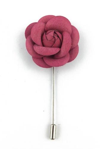 Splice Cufflinks silver Pink PU Leather Camellia Flower Lapel Pin SP744AC14FAFSG_1