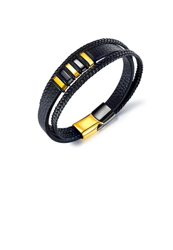 Glamorousky silver Simple and Fashion Golden Geometric 316L Stainless Steel Multi-layer Braided Leather Bracelet 1B515AC20BBAB6GS_1