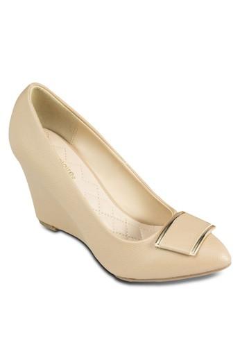 Gen尖沙咀 esprit outlet 金飾尖頭楔型跟鞋, 女鞋, 中跟