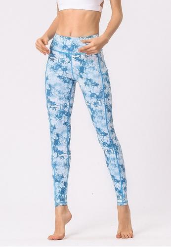 B-Code blue ZYG3031-Lady Quick Drying Running Fitness Yoga Sports Leggings -Blue 25FA8AA60CF6AEGS_1