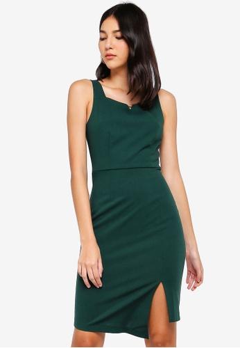 ZALORA green Notched Neck Dress 164D6AA72FADD6GS_1