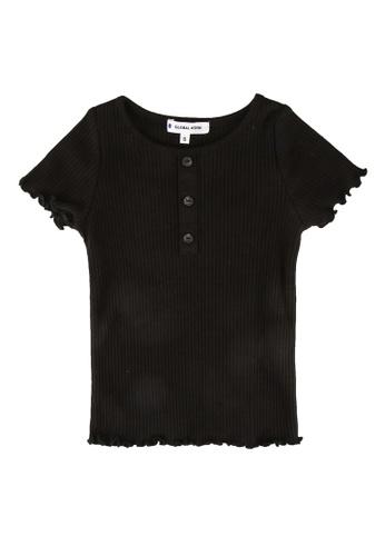 GLOBAL WORK black Girls Henley Neck Rib T-Shirt B5BF8KAB4F6B14GS_1