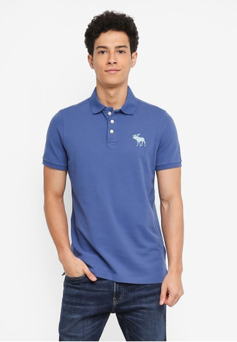 Abercrombie & Fitch blue Exploded Icon Polo Shirt C3773AA6313BE0GS_1