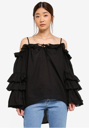 Stylenanda black Ruffle Tiered Sleeve Top 7D934AA044E327GS_1