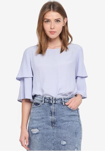 ESPRIT blue Woven Short Sleeve Blouse 640E0AA22C8064GS_1