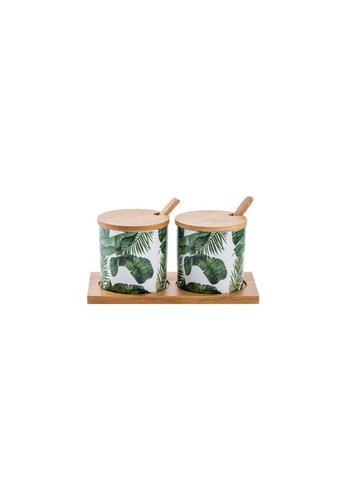 Propstation Tropical Ceramic Marble Wooden Lid Kitchen Canister Jar Set of 2 8E4ABHL9DFAEA7GS_1