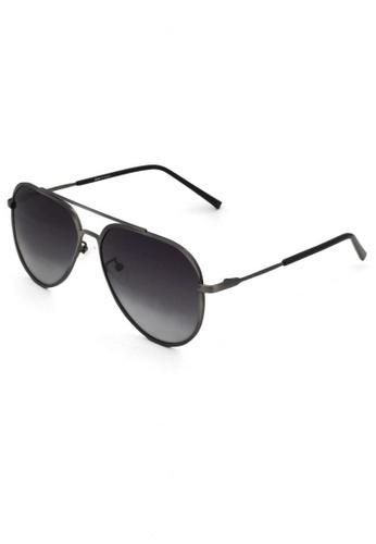 jojo grey Thick Frame Solid Aviator Polarized Sunglasses E14C0GL023ACB1GS_1