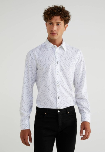 United Colors of Benetton white Printed Slim Fit Shirt 02DBEAA1209993GS_1