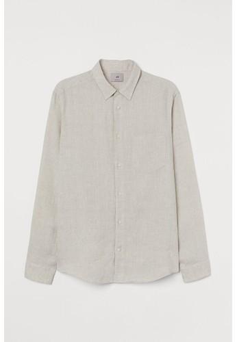 H&M beige Regular Fit Linen shirt C6593AA9FE2DF3GS_1