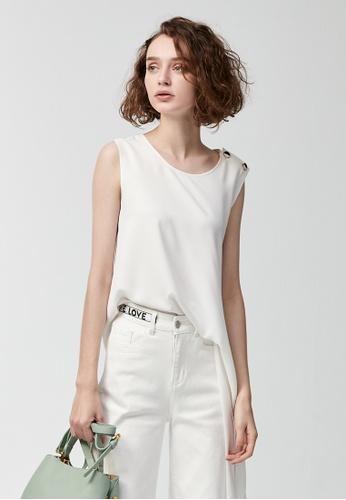 iROO white Asymmetric Vest D927BAAC03C619GS_1