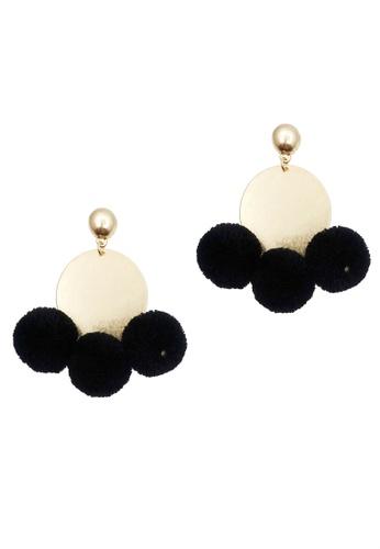LUCCACAL black Tanya Pom Pom Earrings DCF51ACC15A472GS_1
