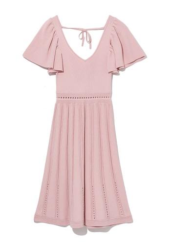 b+ab pink Ribbed ruffle dress 7B976AABDBAE43GS_1
