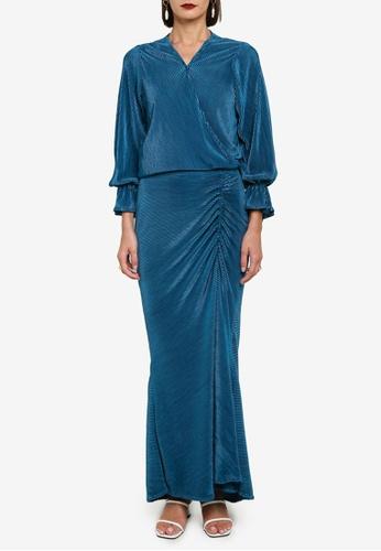 Zalia green Pleat Wrap Top With Bishop Sleeve Set 54B0DAAACA549DGS_1