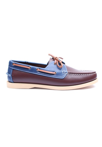 Moley brown Genuine Leather Duo Tone Boat Shoe MO329SH99EIESG_1