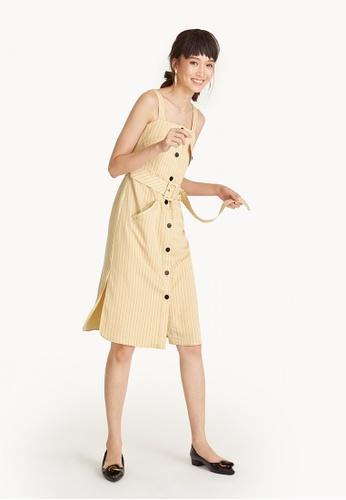 Pomelo beige Midi Pinstripe Button Down Belted Dress F61F5AA56EB7B9GS_1