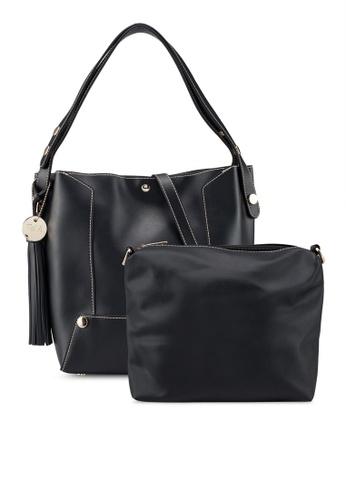 Perllini Mel black Faux Leather Single Handle Tote Bag DCBE4AC4450E0DGS 1 9fc9f97e47f0c