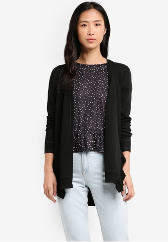 ZALORA black Boyfriend Cardigan With Ruffle Slit B296CAA6E48836GS_1