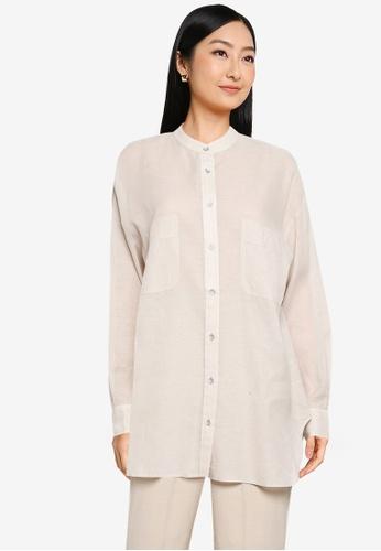JEANASIS white Long Sleeve Woven Shirt C0396AAE85B0C0GS_1
