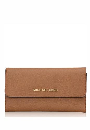 MICHAEL KORS brown Michael Kors Jet Set Travel Large Trifold Wallet - Brown F5D73AC745571DGS_1
