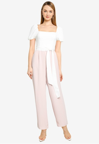 Forever New white and pink Marg Square Neck Jumpsuit 14F08AAA265B48GS_1