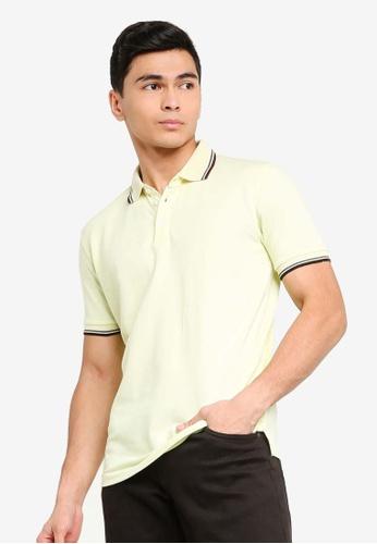 UniqTee 黃色 修身Fit Twin Tipped Polo 襯衫 411F6AA67C10F2GS_1