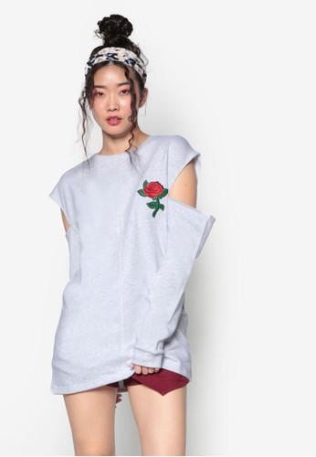 韓式時尚玫瑰刺繡挖肩長袖衫esprit outlet 台中, 服飾, 上衣