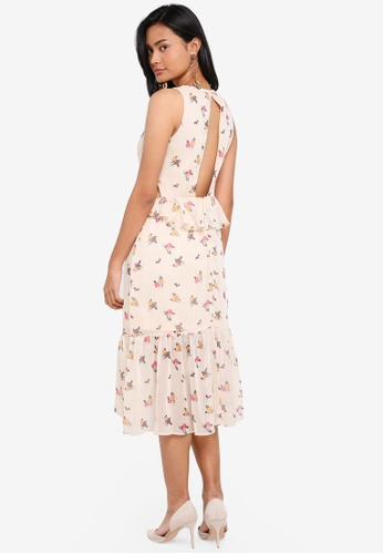 Miss Selfridge beige Cream Backless Floral Print Midi Skater Dress 72B8FAAE080016GS_1