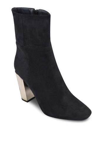 Winniesprit outlete 金飾粗跟仿麂皮踝靴, 女鞋, 鞋