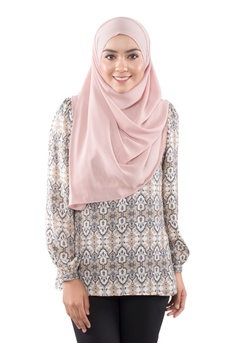 10190ade843f67 EDZ grey and yellow and brown and beige EDZ Dina Printed - Dip Back Blouse  in