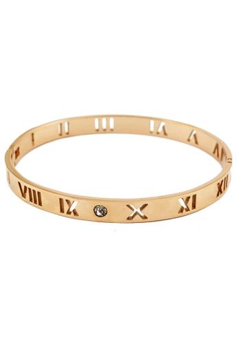 YOUNIQ gold YOUNIQ Romans 18K Titanium Bangle (Rosegold) YO999AC44SBBMY_1