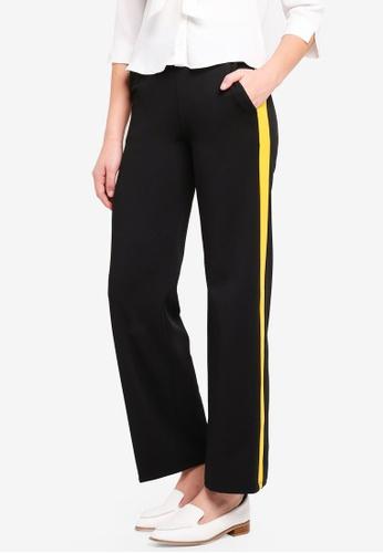 Miss Selfridge black Yellow Side Stripe Wide Leg Trousers 1FA47AAA21E2A0GS_1