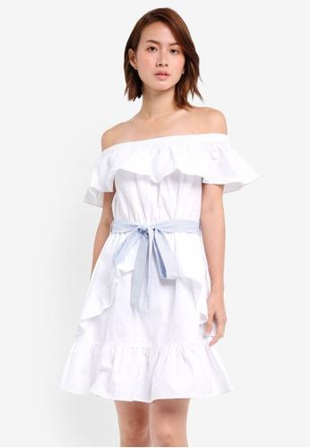 ZALORA white Off Shoulder Ruffle Details Dress With Belt 185C5AAF80F1AFGS_1