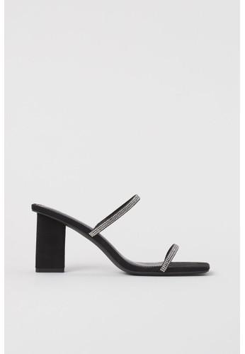 H&M black Rhinestone-embellished mules AF06CSHDCCED4DGS_1