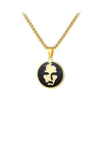 Glamorousky silver Fashion Personality Plated Gold Portrait Geometric Round 316L Stainless Steel Pendant with Necklace D01B4AC768D2CCGS_1