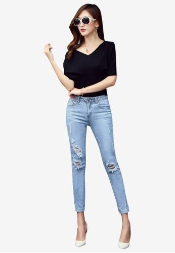 Lara blue Women's Slit Jeans AFF6DAAA356EB8GS_1