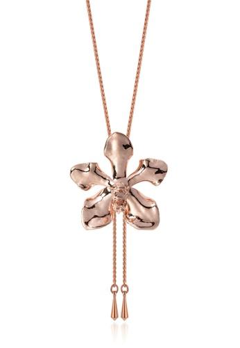 RISIS pink RISIS 18K Rose Gold Plated Natural Vanda Limbata Orchid Slider FA6E3AC88A7DCDGS_1