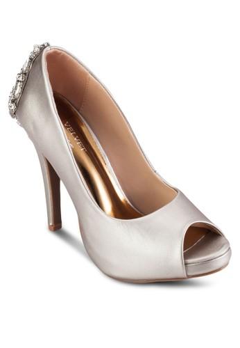 Occasionesprit地址 鞋背閃飾露趾厚底高跟鞋, 女鞋, 魚口鞋
