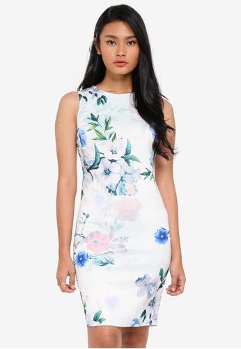 Dorothy Perkins blue Petite Ivory/Blue Floral Dress 1A04BAAB7830D0GS_1