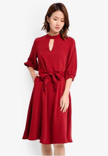 ZALORA red High Neck With Key Hole Dress 2A786AAFA99046GS_1