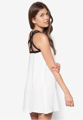 削肩雙帶背部交叉洋裝, 服zalora 男鞋 評價飾, 洋裝