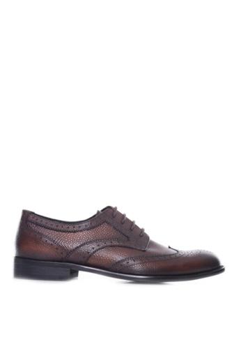 Zeve Shoes brown Zeve Shoes Derby Brogue Wingtip - Dark Brown Pebble Grain Leather Lace Up (Hand Painted Patina) B51DESH924FDA2GS_1